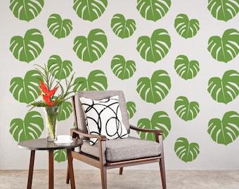 Tropical Wall Decals, Beach Wall Decor, Tropical Leaf, Hawaiian Wall Decor, Tropical Leaves, Apartment Wall Decor, Tropical Nursery Decor