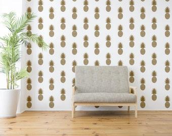 Pineapple Wall Decal, Mid Century Decals, Wall Decal, Pineapple Wall Decor, Tropical Fruit Wall Decal, Hawaiian Wall Decor, Fruit