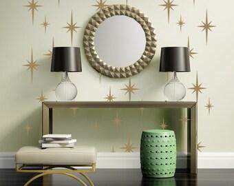 Retro Starburst Wall Decals, Atomic Star Wall Decal, Geometric Wall Decor, Mid Century Mod Wall Decor, Modern Nursery Decor, Starburst Shape