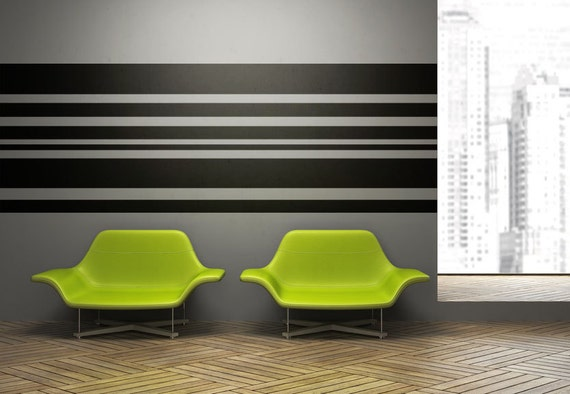 & Stripe Wall Decal Horizontal Wall Art Horizontal Striped