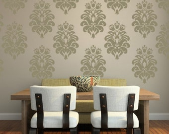 Damask Wall Decal, Damask Decal, Floral Wall Decal, Victorian Decor, Nursery Wall Decal, Tulip Wall Decal, Textile Wall Art