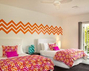 Chevron Wall Decal, Geometric Wall Decal, Chevron Wall Pattern, Geometric Dorm Decor, Zig Zag Wall Decal, Modern Wall Art, Interior Decor