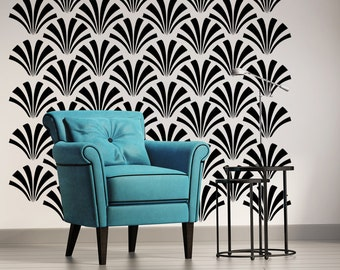 Retro Wall Decor, Geometric Wall Decal, Art Deco Wall Decal, Fan Wall Decal