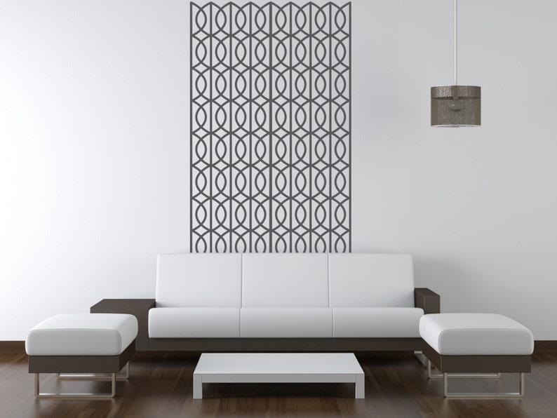 Removable Apartment Decor Geometric Wall Decal Lattice Wall Pattern Figure Eight Wall Pattern Mid Century Wall Decor Retro Wall Decal