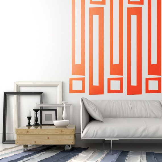 Geometric Wall Decal Retro Wall Decals Mid Century Mod Wall