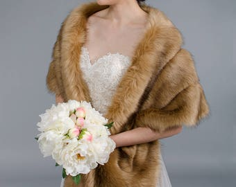 Brown faux fur wrap bridal wrap faux fur shrug faux fur stole faux fur shawl faux fur cape B001-brown