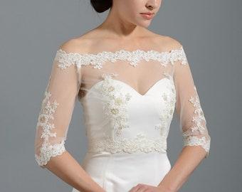 Off-Shoulder Alencon Lace bolero jacket Bridal Bolero Wedding jacket wedding bolero bridal shrug bridal jacket