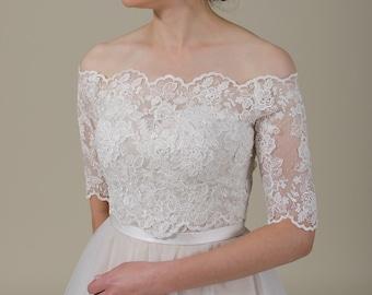 336b4fbbebd9ab Wedding dress topper Off-Shoulder lace bolero wedding bolero wedding jacket lace  shrug bridal jacket bridal lace topper Alencon Lace WJ048