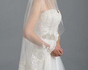 Wedding veil, bridal veil, wedding veil ivory, elbow length wedding veil lace lace bridal veil