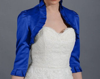 Blue 3/4 sleeve satin bolero wedding bolero jacket shrug