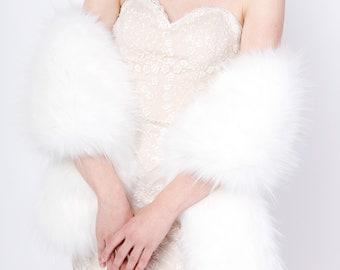 White faux fur wrap faux fur stole faux fur shawl bridal wrap faux fur shrug B005-White