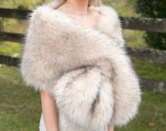 Light blush colored faux fur wrap faux fur stole faux fur shawl bridal wrap faux fur shrug B005-light-blush