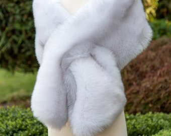 Light gray faux fur wrap faux fur stole faux fur shawl bridal wrap faux fur shrug B005-light-gray