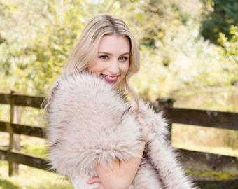 Blush faux fur wrap faux fur stole faux fur shawl bridal wrap bridal cape faux fur shrug B005-blush