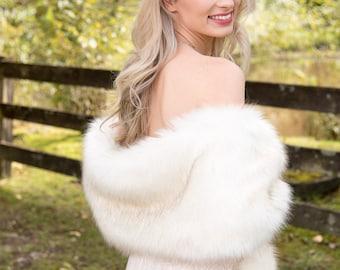 Ivory faux fur wrap faux fur stole faux fur shawl bridal wrap faux fur shrug bridal cape B005-ivory-darker-tips