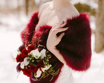 faux fur stole faux fur wrap faux fur shawl bridal wrap wedding shrug bridal shrug faux fur cape faux fur wrap bridal B005-Burgundy