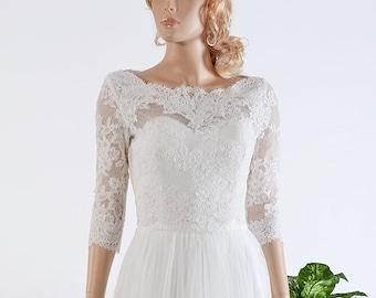 Wedding jacket, lace bolero, wedding bolero, bolero jacket, Boat neck bolero, bridal bolero, ivory Alencon Lace bolero jacket