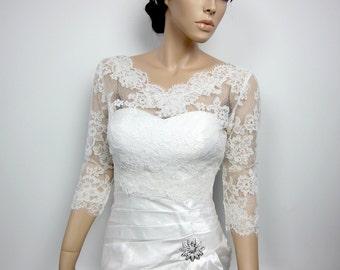 Lace bolero jacket, Bridal Bolero, Wedding jacket, wedding bolero, bridal shrug, bridal jacket, V-neck ivory Alencon lace
