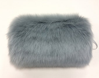 Flower girl faux fur muff in silver color