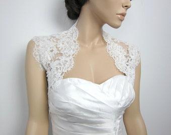 Ivory sleeveless bridal bolero bridal jacket bridal shrug alencon lace bolero jacket wedding bolero wedding jacket wedding shrug