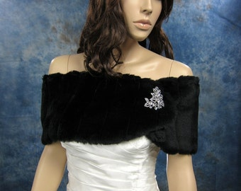 Black faux fur wrap bridal shrug faux fur stole shawl FW006-Black