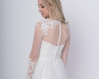 Light ivory long sleeve wedding dress topper, buttoned back, lace bolero, wedding bolero, wedding jacket, bridal bolero, boat neck