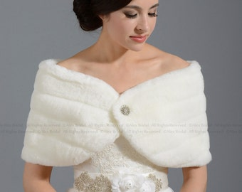 Ivory faux fur wrap bridal shrug faux fur stole shawl FW001-Ivory regular