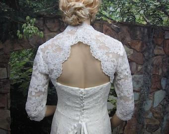 Wedding bolero, wedding jacket, lace bolero, bridal bolero jacket, Ivory bolero, 3/4 sleeve lace bolero, keyhole back, alencon lace