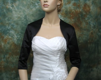 Black 3/4 sleeve satin bolero wedding bolero jacket shrug