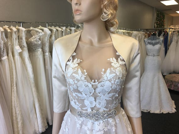 satin bolero, bolero jacket, wedding bolero, bridal bolero, bridal jacket, wedding jacket, satin bolero jacket, satin008 champagne