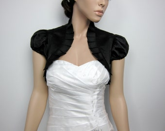 Black short sleeve satin bolero wedding bolero jacket shrug