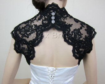 lace bolero, lace shrug, lace jacket, wedding bolero, bridal shrug, bolero jacket, bridal bolero, black lace bolero, keyhole back bolero