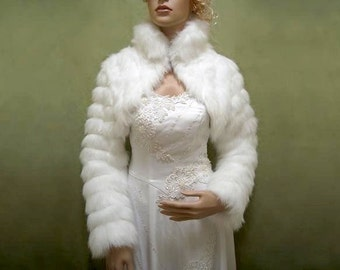Faux fur bolero, faux fur shrug, faux fur wrap, faux fur shawl, faux fur stole, white, FB002-White