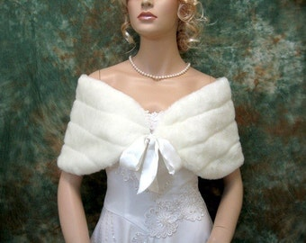 Ivory faux fur shawl faux fur wrap faux fur shrug faux fur stole FW002-Ivory