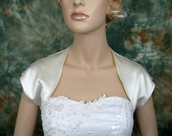 Ivory sleeveless satin bolero wedding bolero jacket shrug