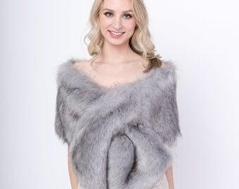 faux fur stole faux fur wrap faux fur shawl bridal wrap wedding shrug bridal shrug faux fur cape gray faux fur wrap bridal B005-Gray