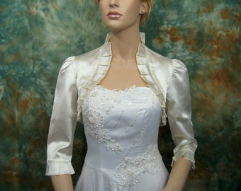Ivory 3/4 sleeve satin bolero wedding bolero jacket shrug