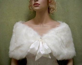 Ivory faux fur shawl faux fur wrap faux fur shrug faux fur stole C002