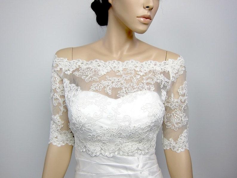 405b7102fdbb48 Off-Shoulder Alencon Lace bolero jacket Bridal Bolero Wedding