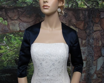 Navy Blue 3/4 sleeve satin bolero wedding bolero jacket shrug