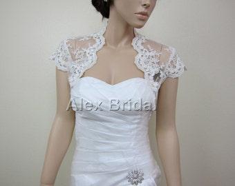 Ivory cap sleeve alencon lace bolero jacket bridal bolero bridal jacket bridal shrug wedding bolero wedding jacket wedding shrug