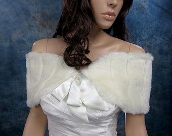 Ivory faux fur shawl faux fur wrap faux fur shrug faux fur stole FW008-Ivory