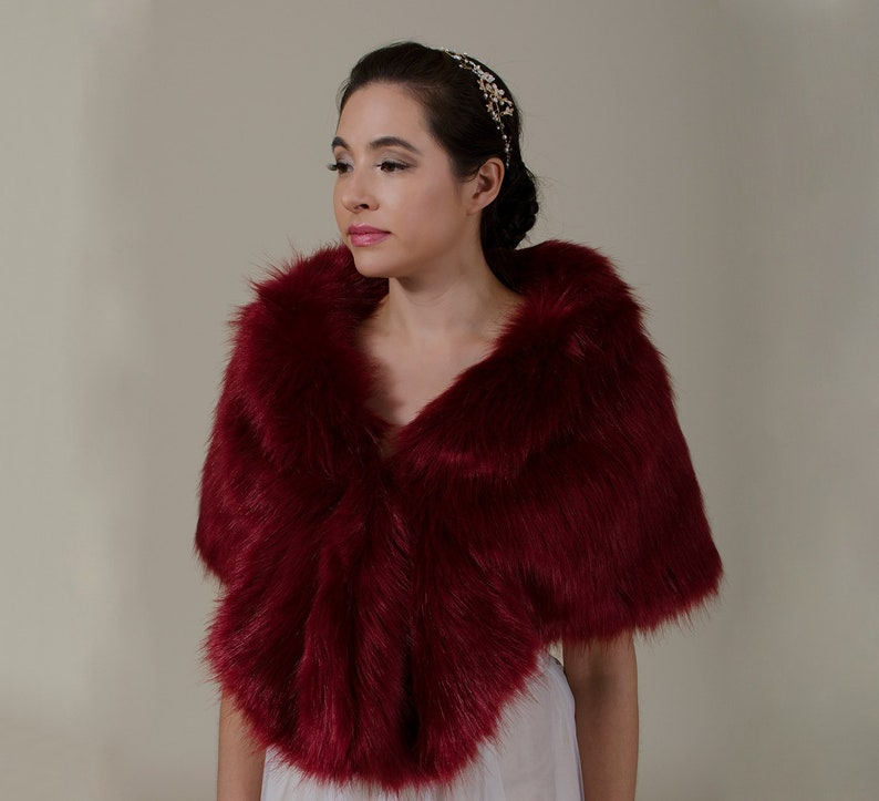 3845b74985 Burgundy faux fur wrap faux fur stole faux fur shawl bridal | Etsy