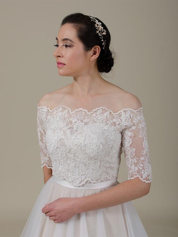 Wedding Dress Topper Off Shoulder Lace Bolero Wedding Bolero Wedding Jacket Lace Shrug Bridal Jacket Bridal Lace Topper Alencon Lace Wj048