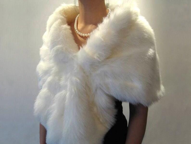 Ivory faux fur wrap faux fur stole faux fur shawl bridal wrap image 0