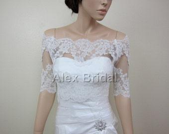 Off-Shoulder Lace bolero, wedding jacket, Bridal Bolero, wedding bolero, bridal jacket ivory Alencon lace
