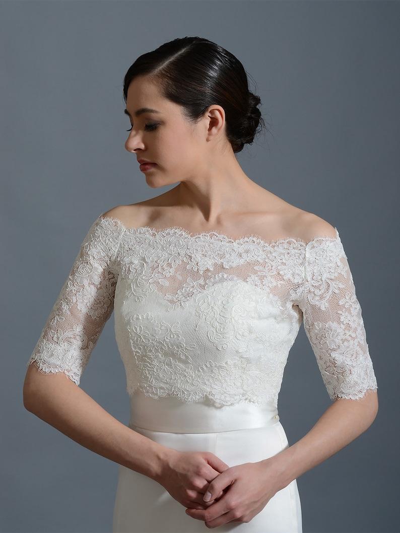 e89acc4072a562 Bridal bolero Off-Shoulder lace bolero wedding bolero