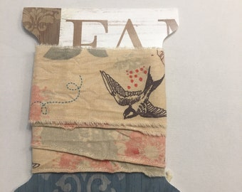 1785 coral cream,black swallow  floral tea dyed shabby chic hand torn craft Muslin ribbon, trim, junk journal  1785 1.50x34