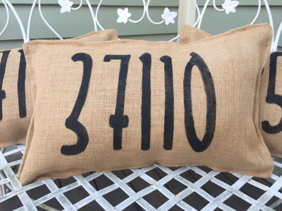 Zip Code Burlap Bench Pillow Decorative Porch Decor Winter Etsy
