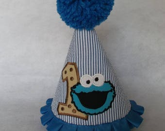 Cookie Monster Party Hat 1st Or 2nd Birthday Photo Shoot Boys Cake Smash